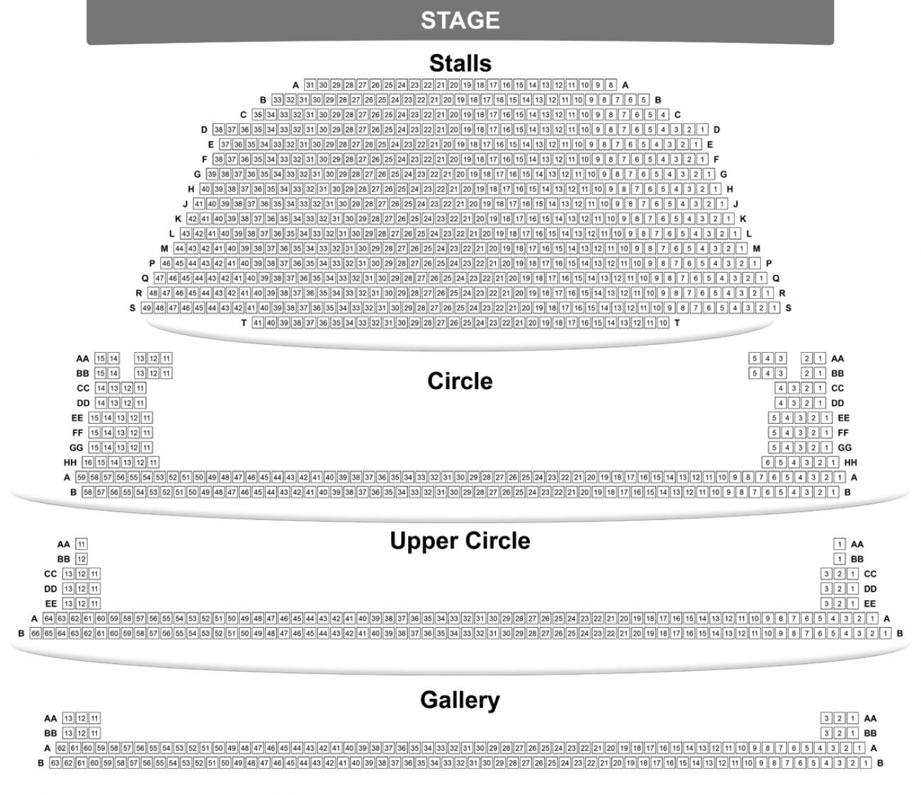 Barbican Theatre Seating plan