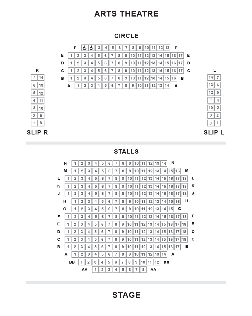 Arts Theatre Seating Plan