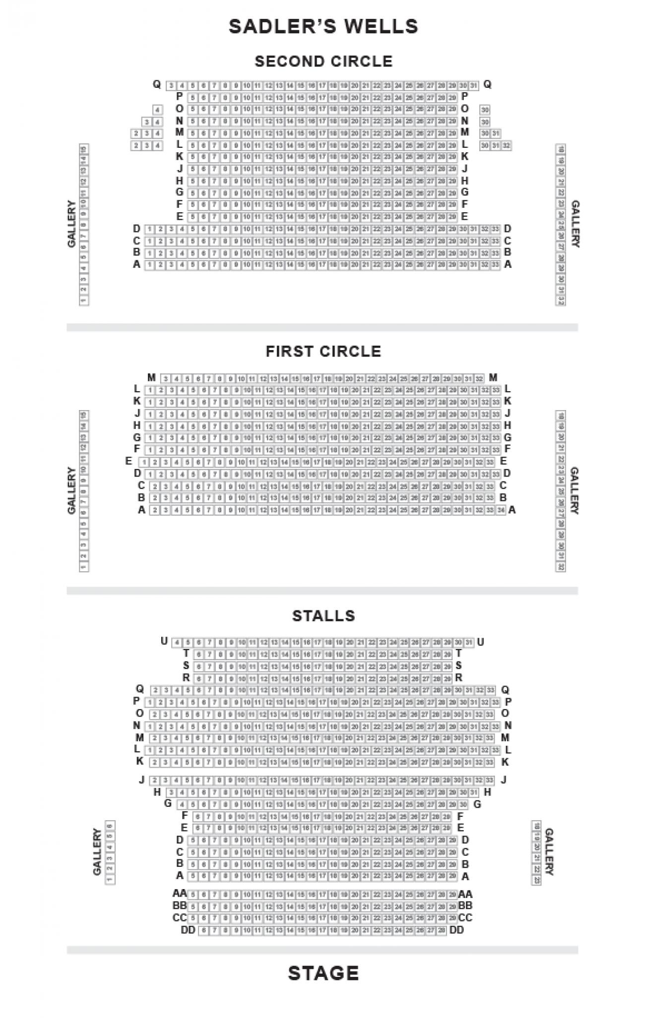 Sadlers Wells Seating plan