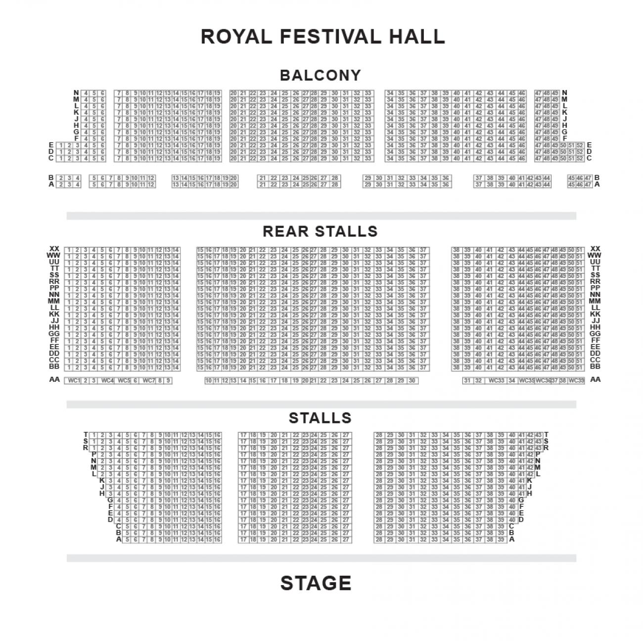 Royal Festival Hall Seating plan