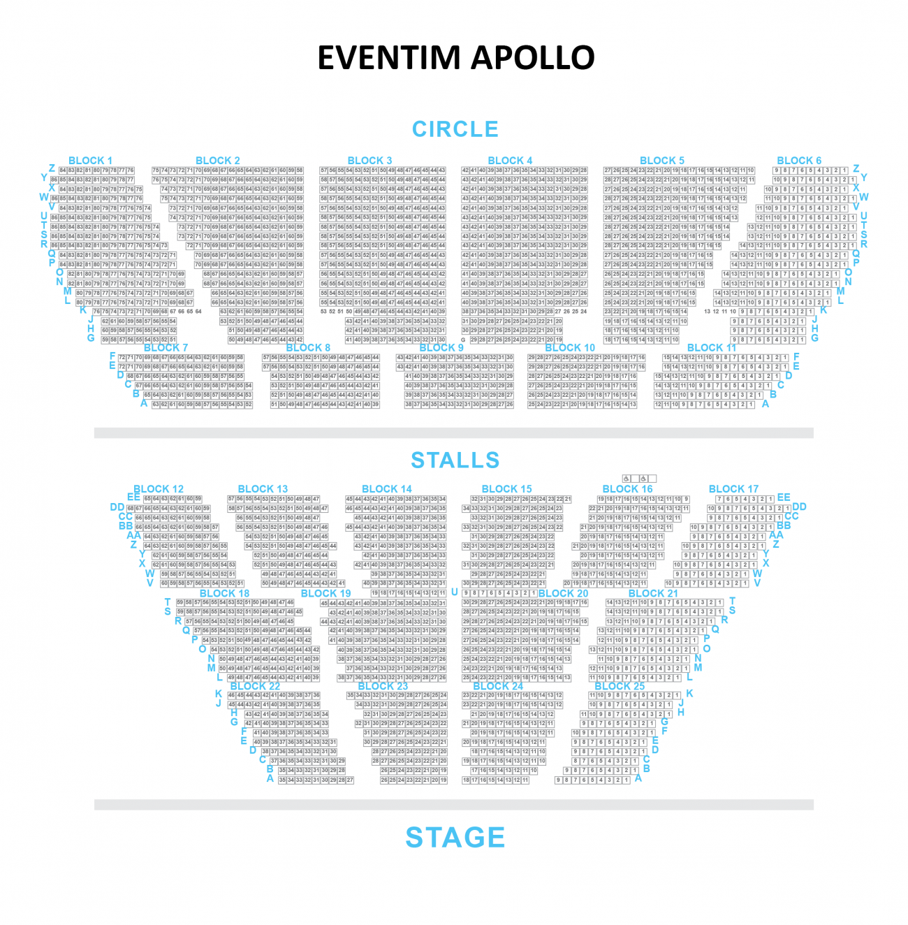 Hammersmith Apollo (Eventim) Seating plan