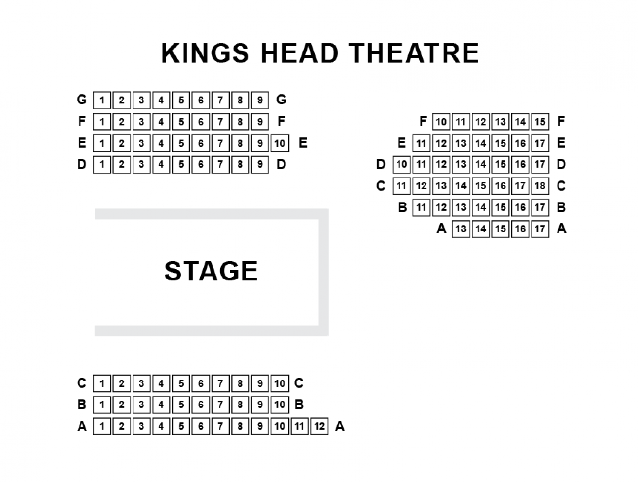 King's Head Theatre Seating plan