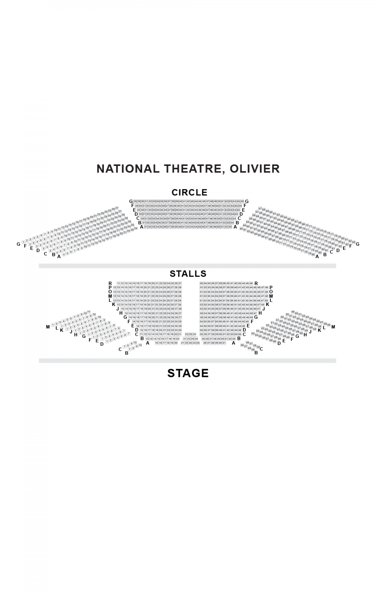 Olivier Theatre (National Theatre) Seating plan