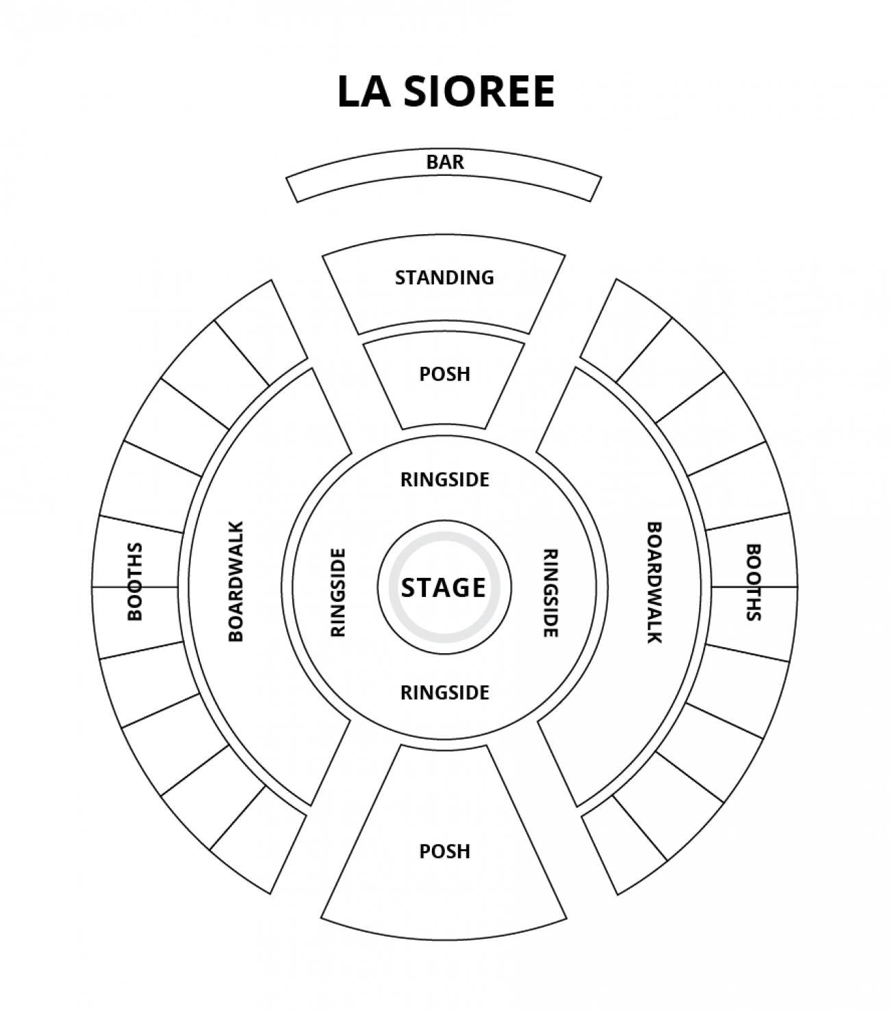 The Spiegeltent Seating plan