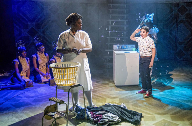 Sharon D. Clarke (Caroline Thibodeaux) and Aaron Gelkoff (Noah) in Caroline, or Change at the Playhouse Theatre