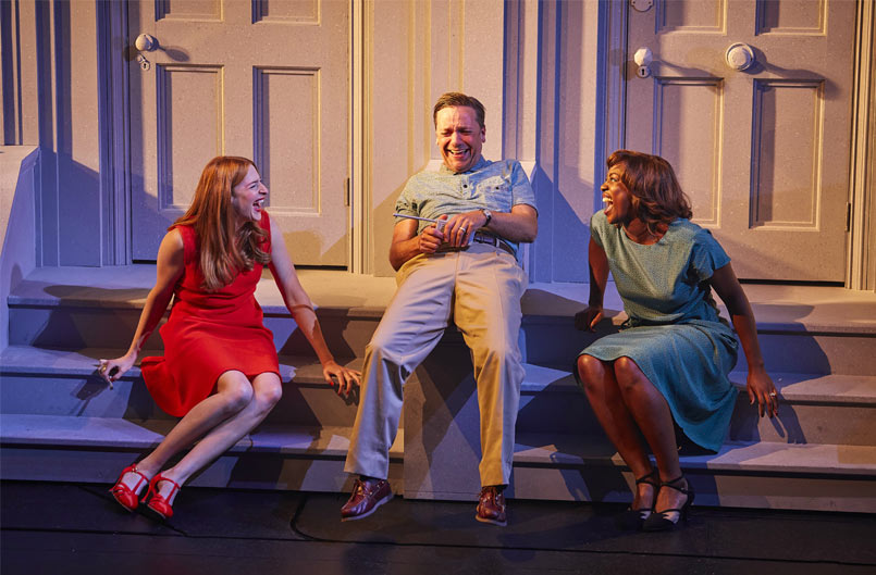 Rosalie Craig, Richard Henders and Jennifer Saayeng in Company at the Gielgud Theatre