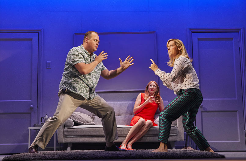 Gavin Spokes (Harry), Rosalie Craig (Bobbie), and Mel Giedroyc (Sarah) in COMPANY
