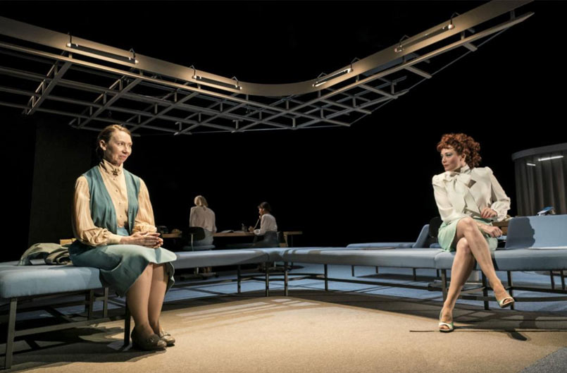 Amanda Hadingue and Charlotte Lucas in Top Girls at the National Theatre. Photo by Johan Persson